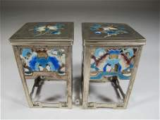 Antique Chinese Export silver & enamel pedestal