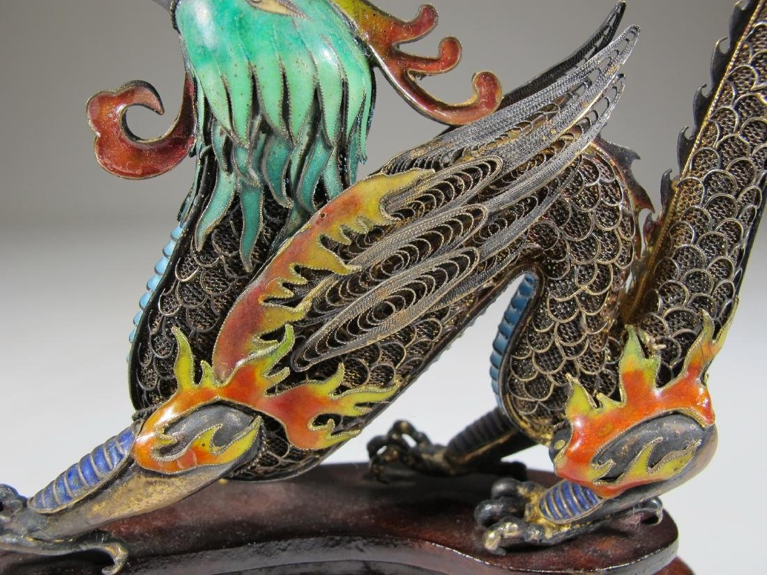 Chinese Export silver & enamel dragon - 6