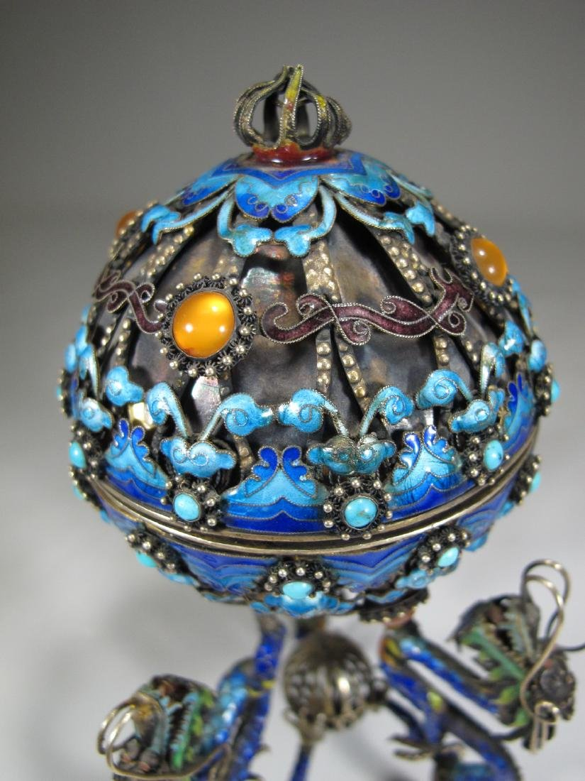 Chinese Export silver & enamel dragons box - 10
