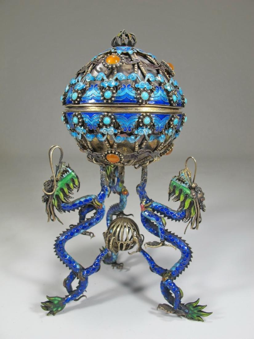 Chinese Export silver & enamel dragons box