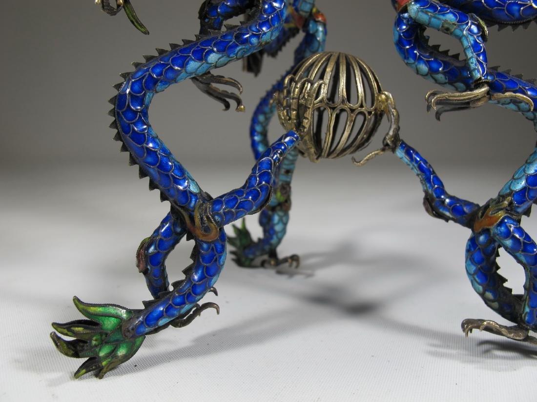 Chinese Export silver & enamel dragons box - 5