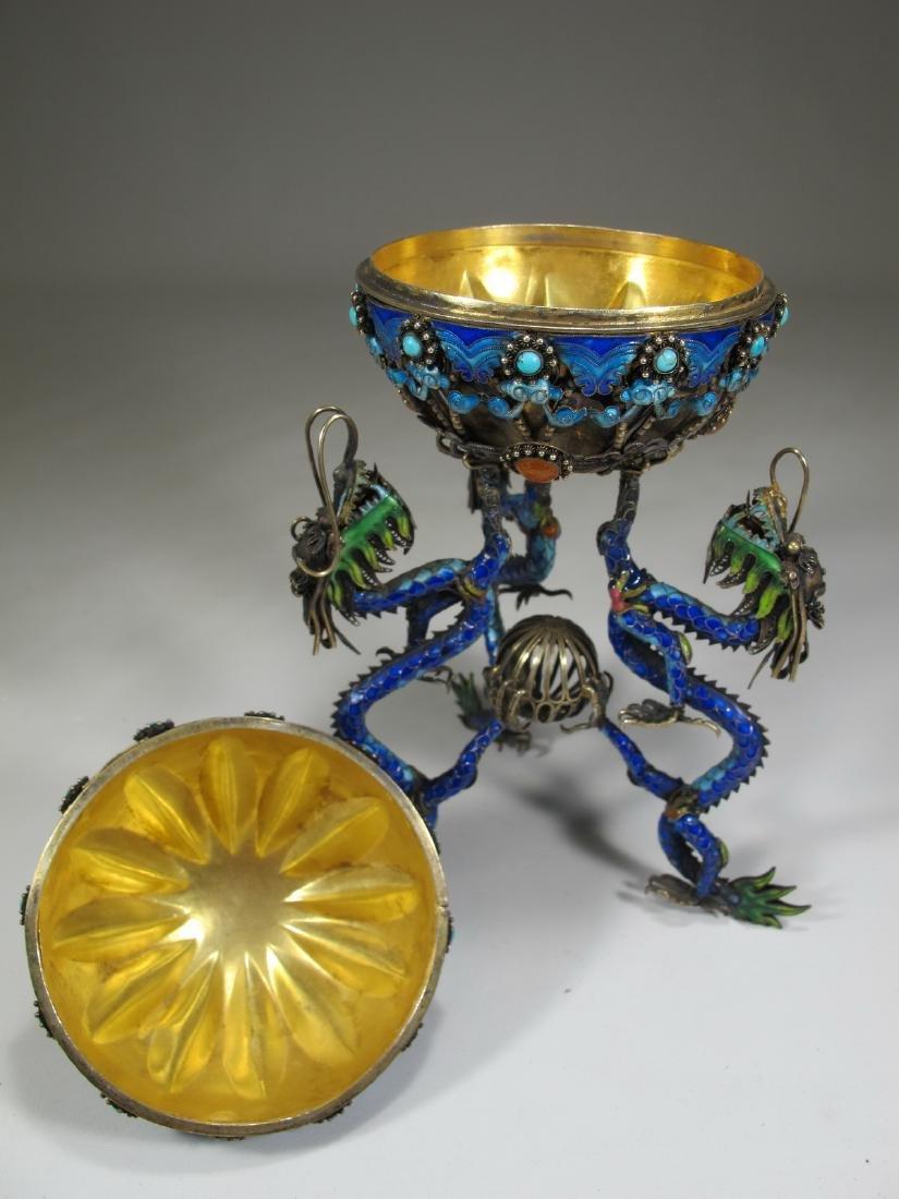Chinese Export silver & enamel dragons box - 6