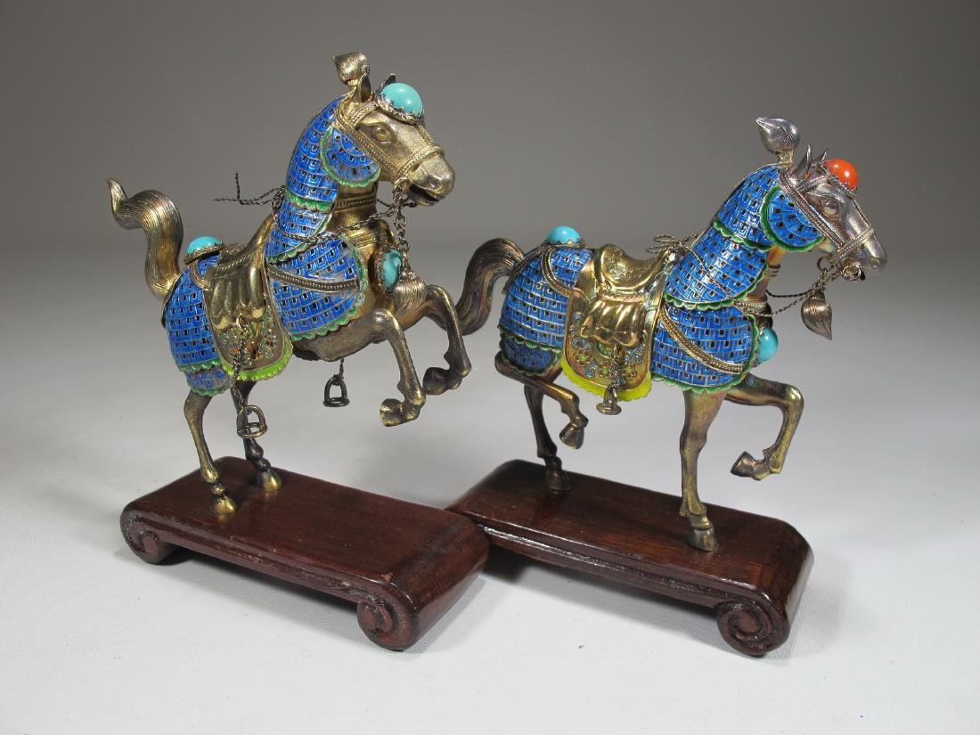 Chinese Export silver & enamel pair of horses