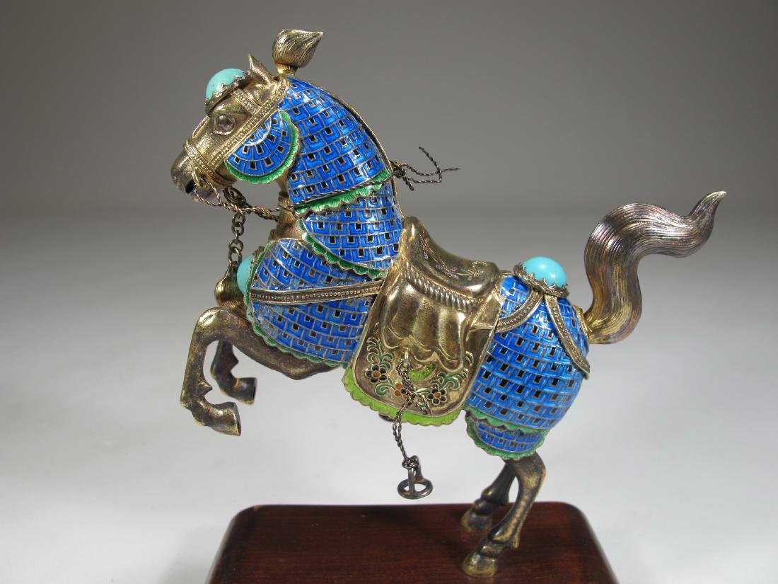 Chinese Export silver & enamel pair of horses - 3