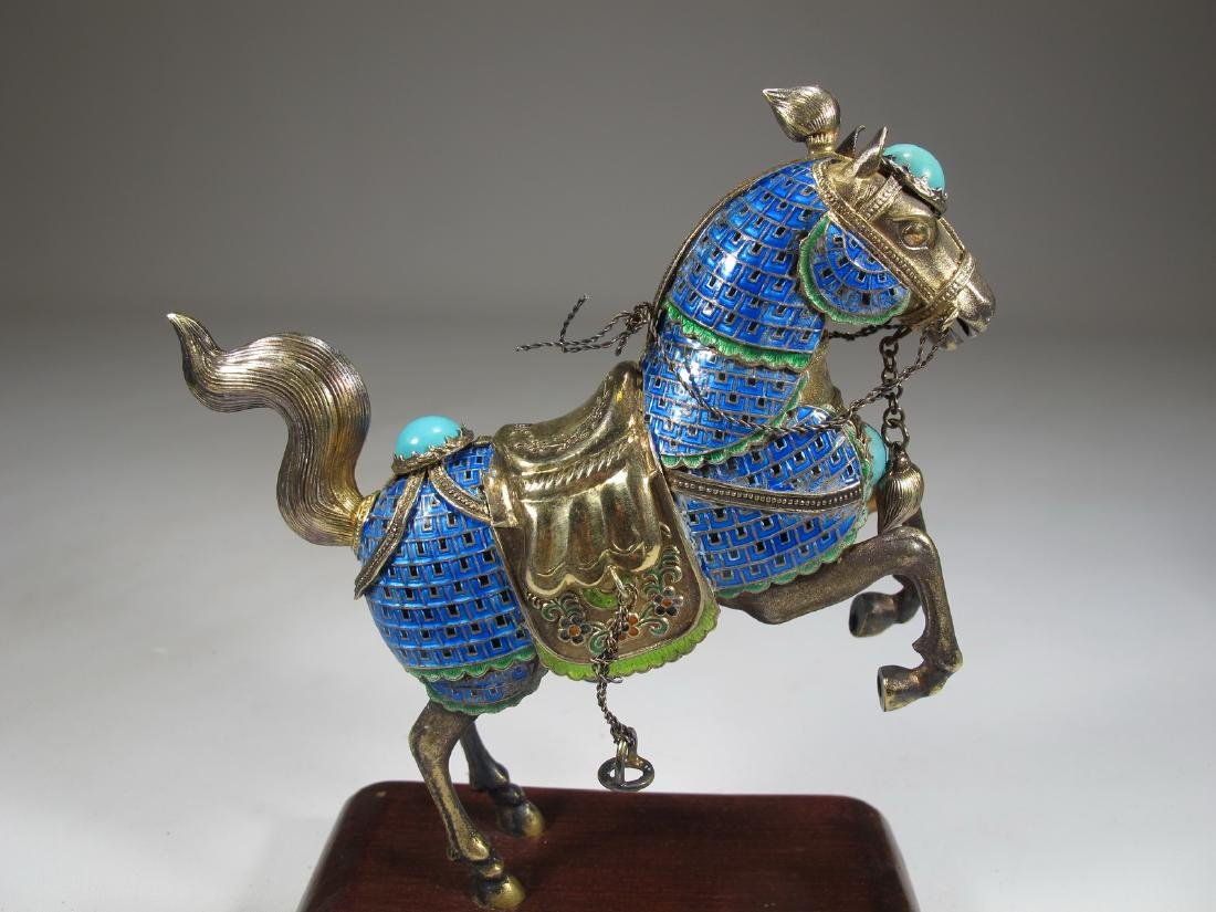 Chinese Export silver & enamel pair of horses - 4