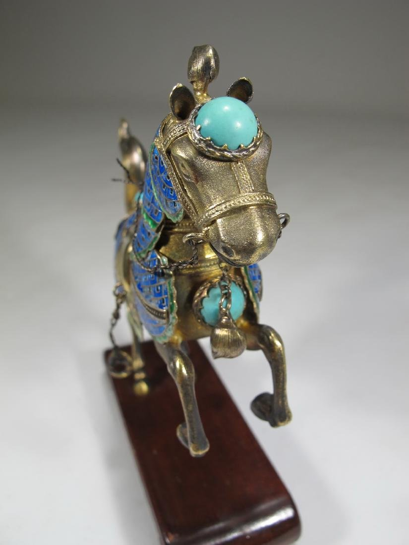 Chinese Export silver & enamel pair of horses - 5
