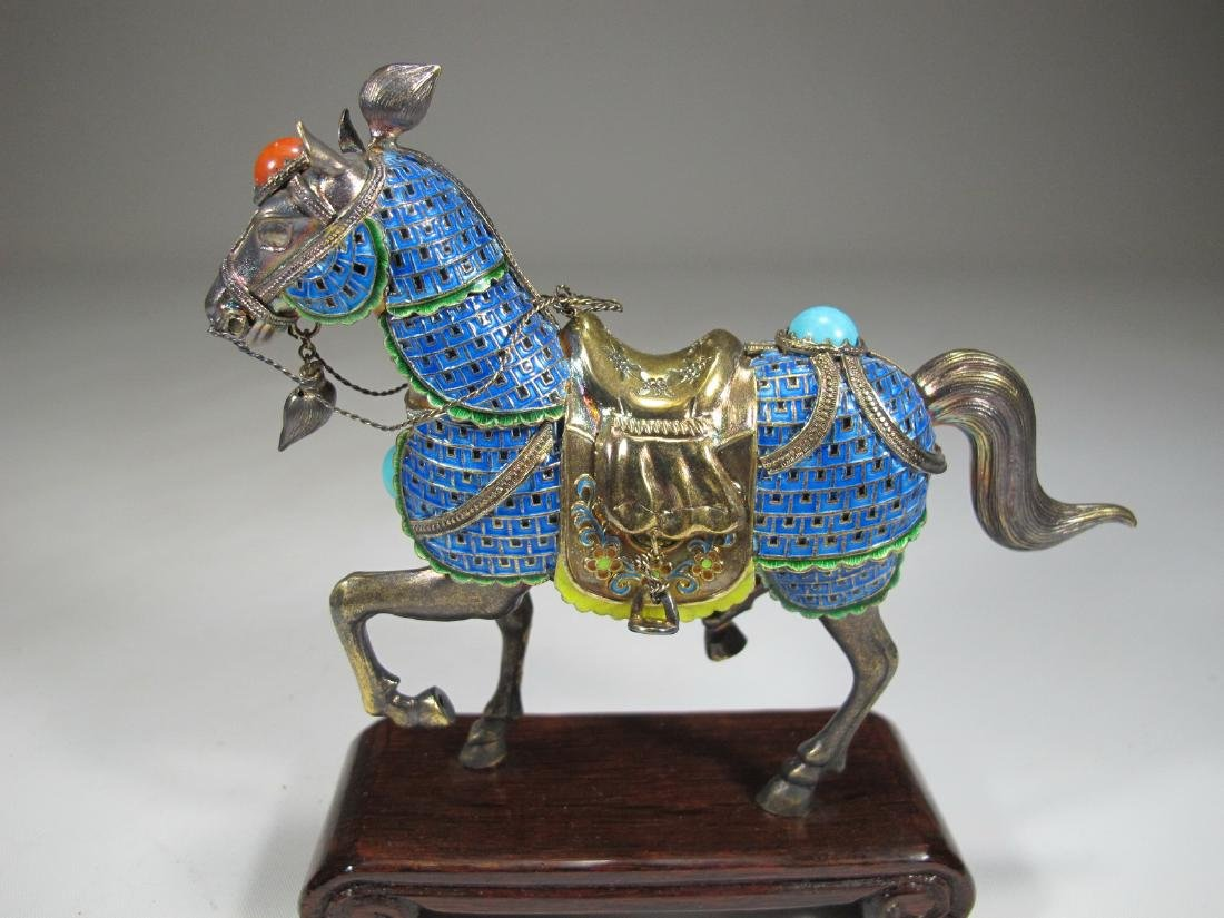 Chinese Export silver & enamel pair of horses - 7
