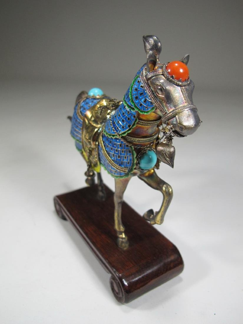 Chinese Export silver & enamel pair of horses - 8