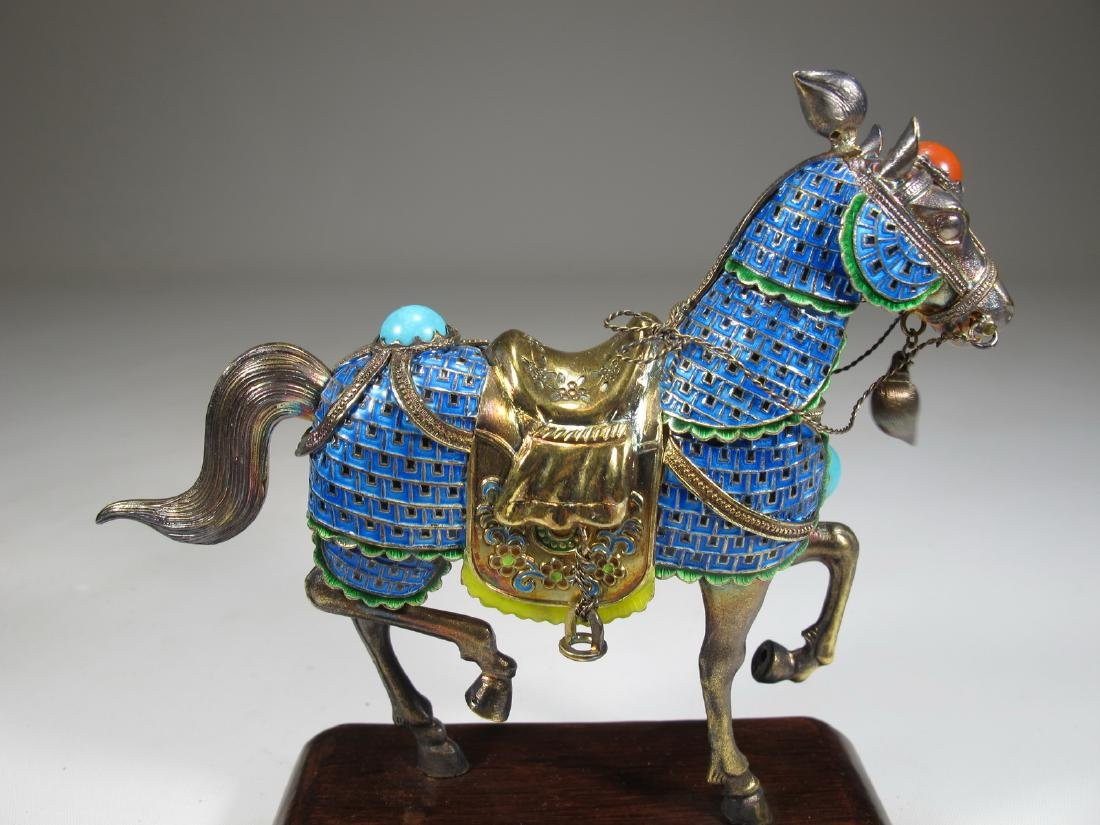 Chinese Export silver & enamel pair of horses - 9