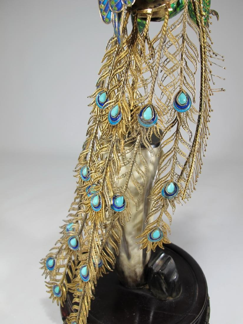 Chinese Export silver & enamel peacock - 10