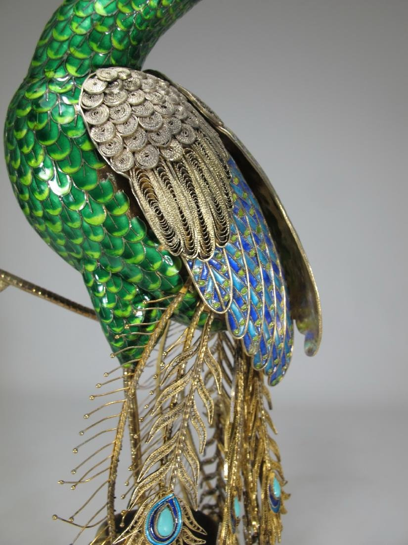 Chinese Export silver & enamel peacock - 3