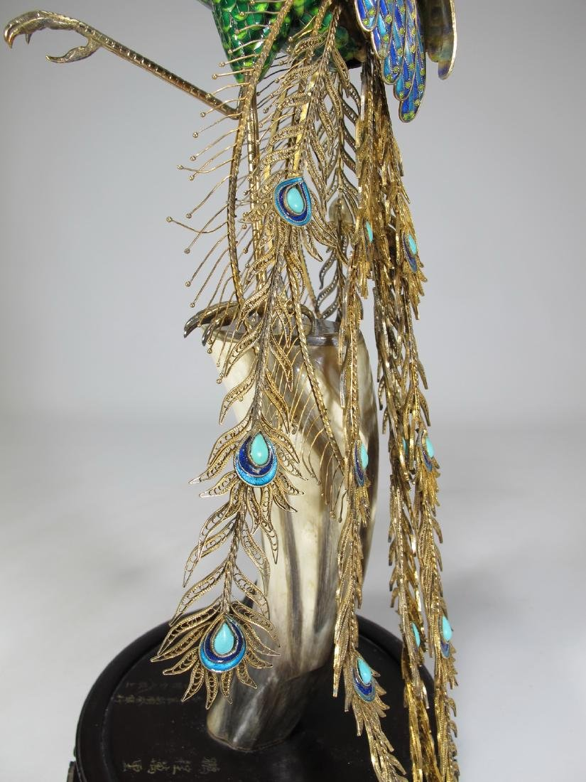 Chinese Export silver & enamel peacock - 4