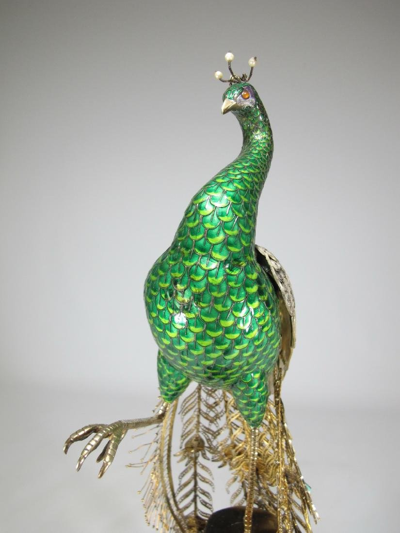 Chinese Export silver & enamel peacock - 7