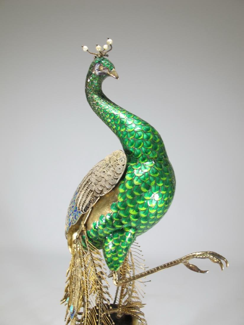 Chinese Export silver & enamel peacock - 9