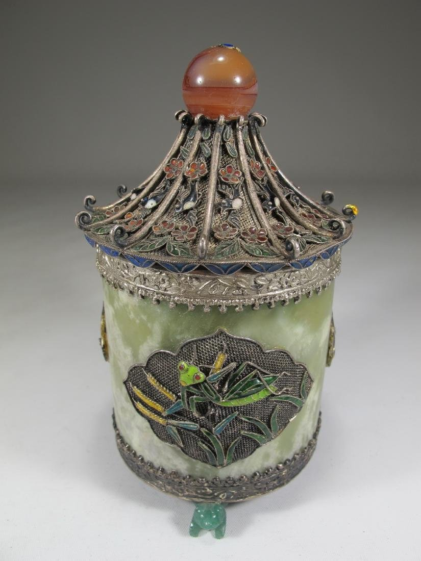 Chinese Export silver, jade & enamel box