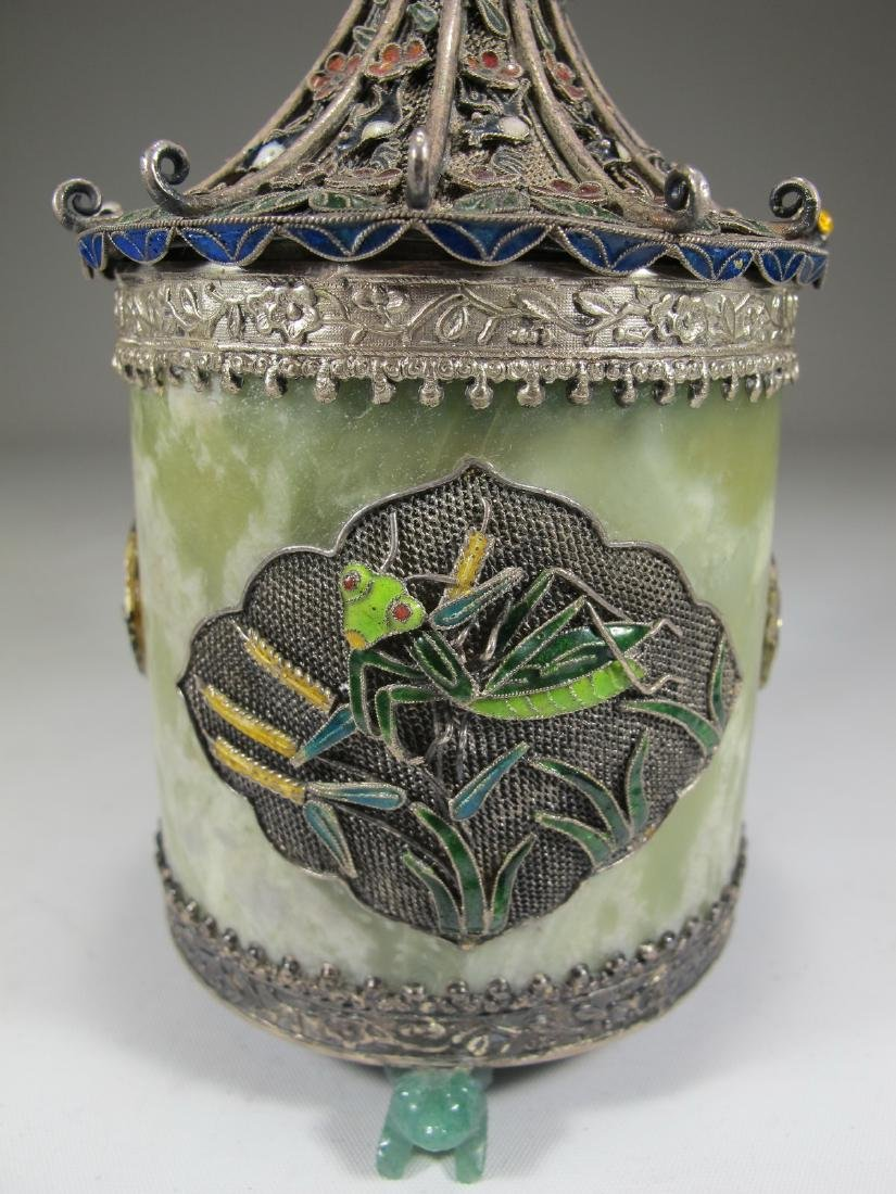 Chinese Export silver, jade & enamel box - 3