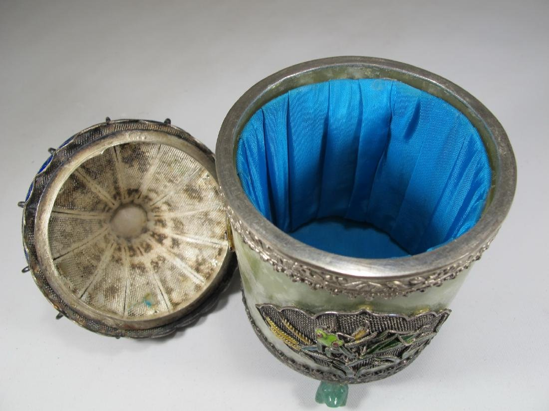 Chinese Export silver, jade & enamel box - 8