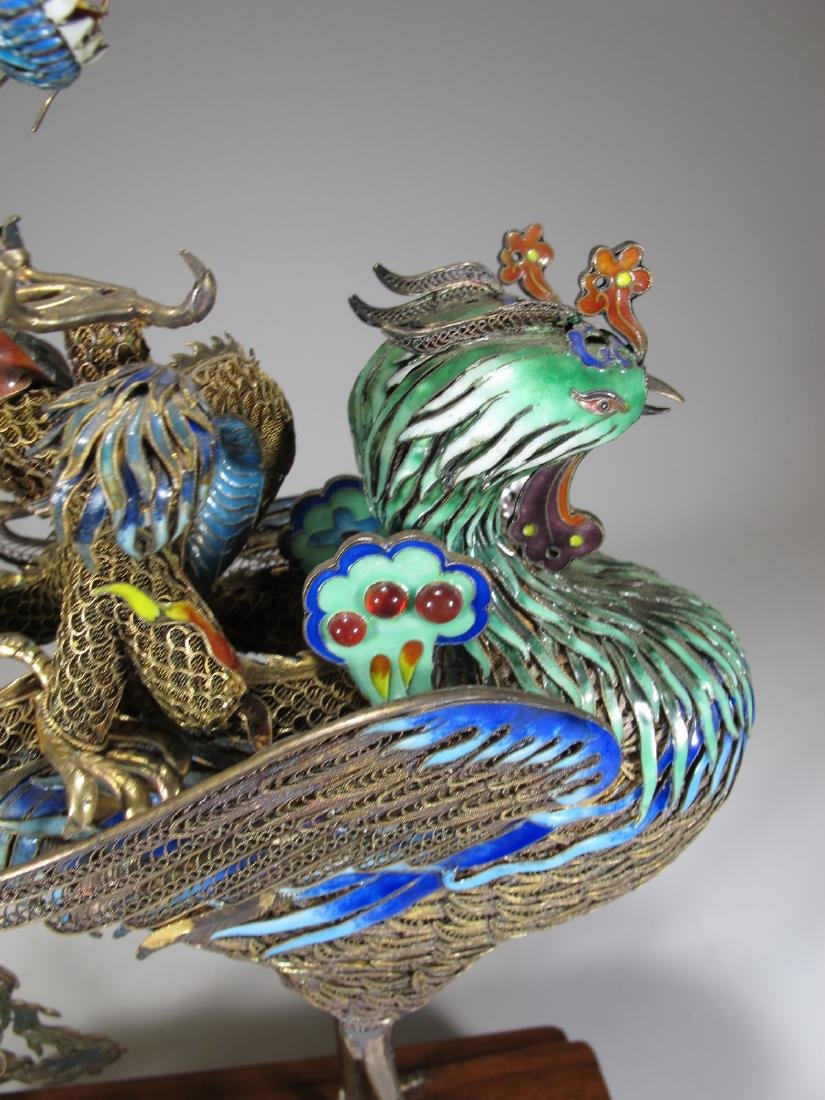 Chinese Export silver & enamel dragon and bird - 10