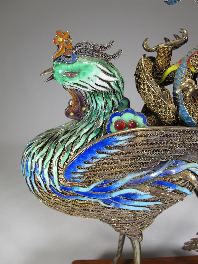 Chinese Export silver & enamel dragon and bird - 3
