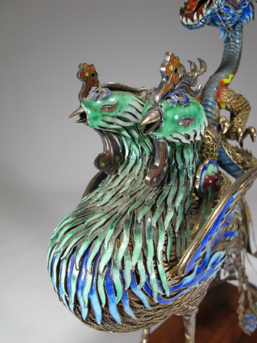 Chinese Export silver & enamel dragon and bird - 5