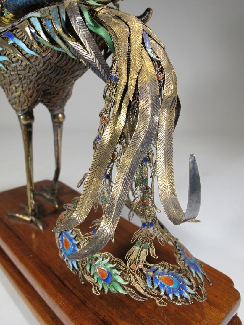 Chinese Export silver & enamel dragon and bird - 6