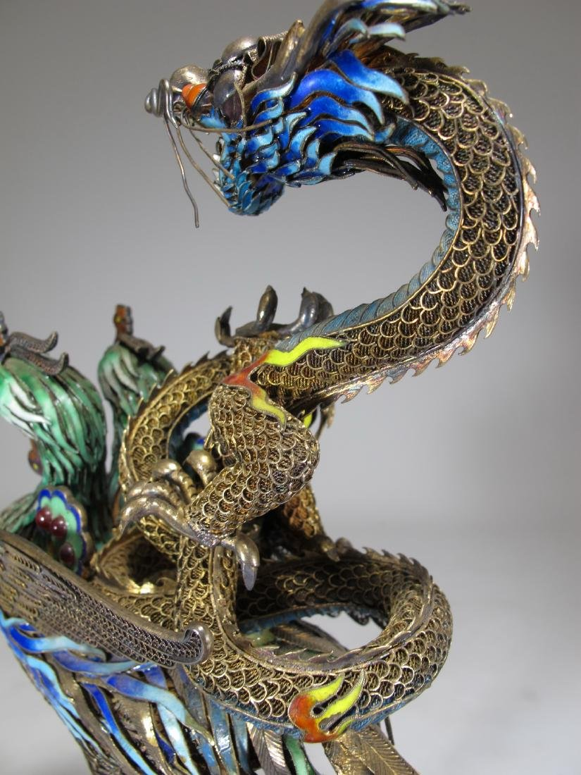 Chinese Export silver & enamel dragon and bird - 7