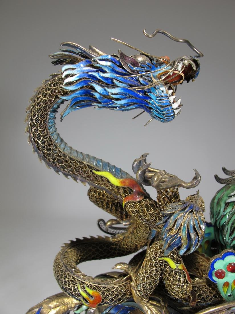 Chinese Export silver & enamel dragon and bird - 9