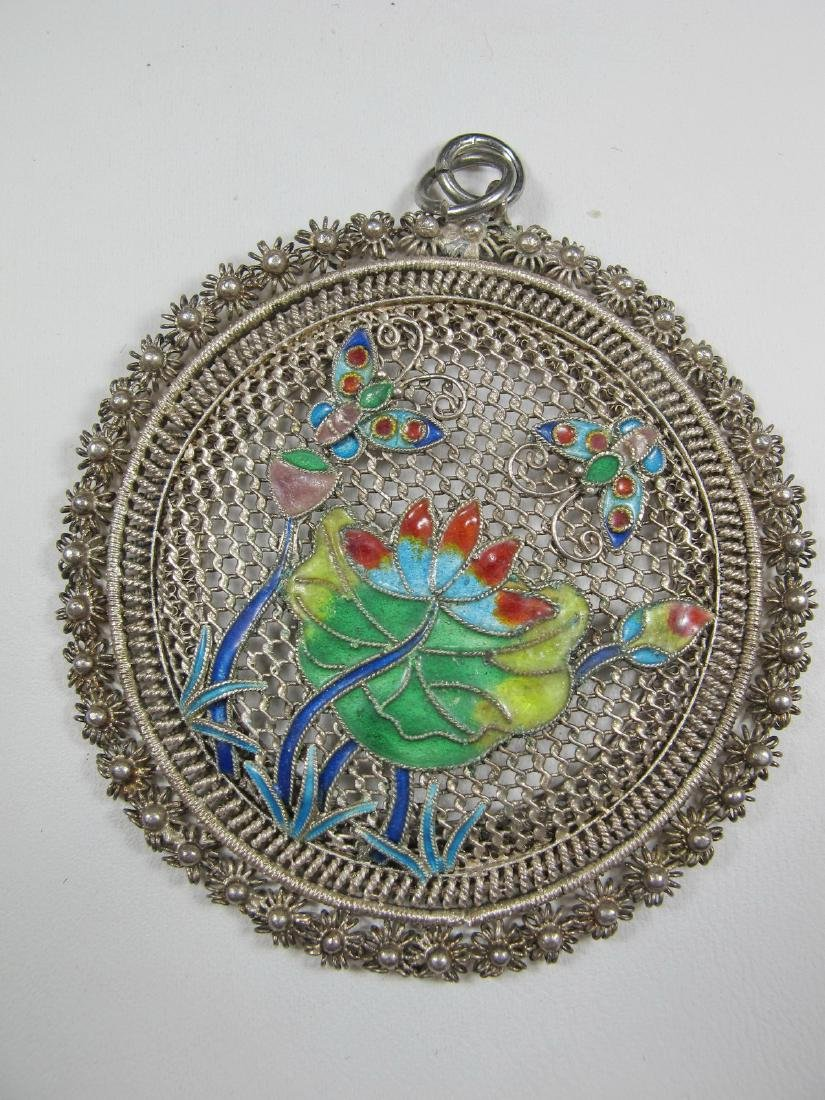 Antique Chinese Export filigree silver & enamel pendant