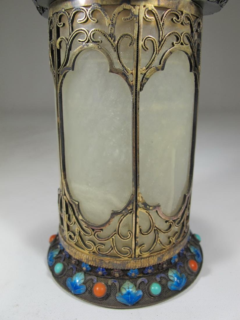 Chinese Export silver, jade & enamel box - 3
