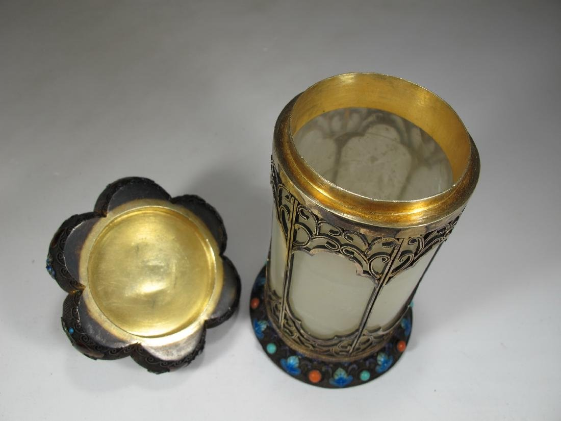 Chinese Export silver, jade & enamel box - 4