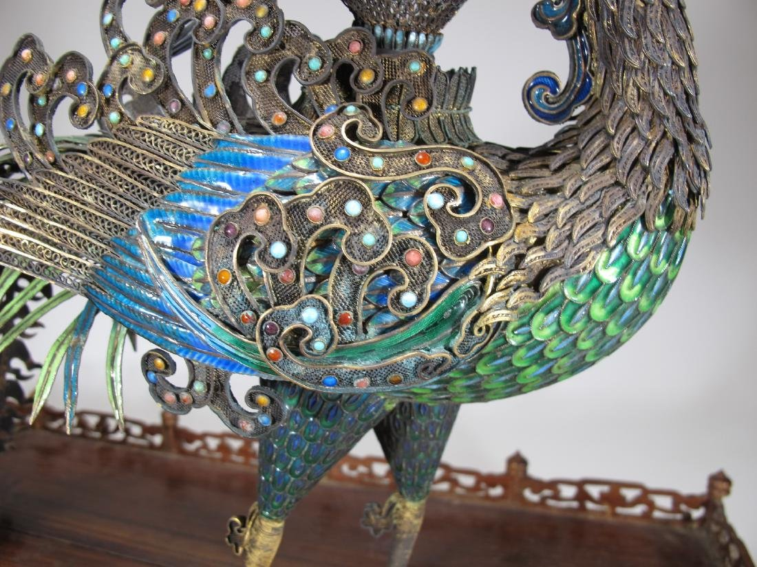 Chinese Export silver & enamel huge peacock - 10