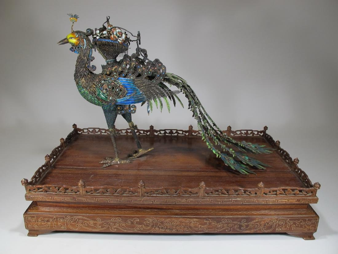 Chinese Export silver & enamel huge peacock