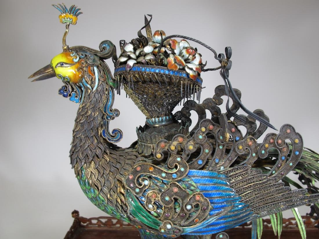 Chinese Export silver & enamel huge peacock - 2
