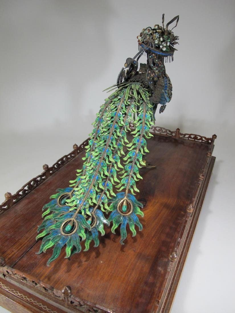 Chinese Export silver & enamel huge peacock - 7