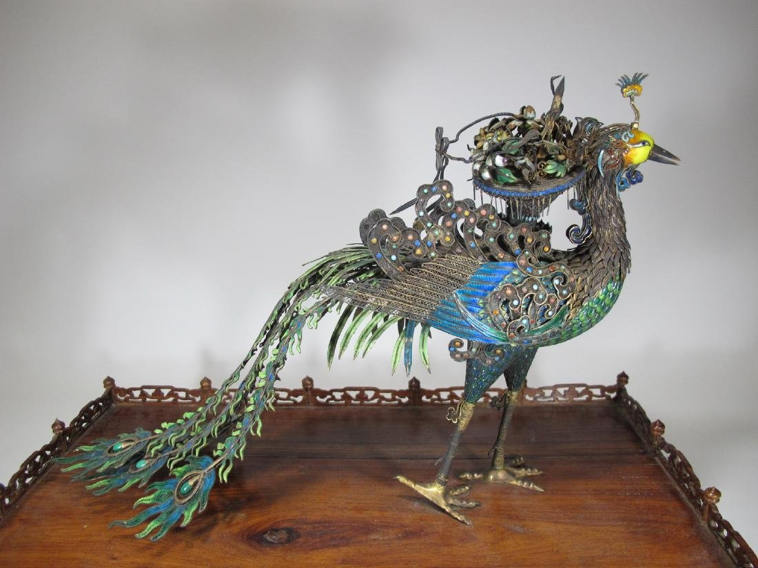 Chinese Export silver & enamel huge peacock - 8