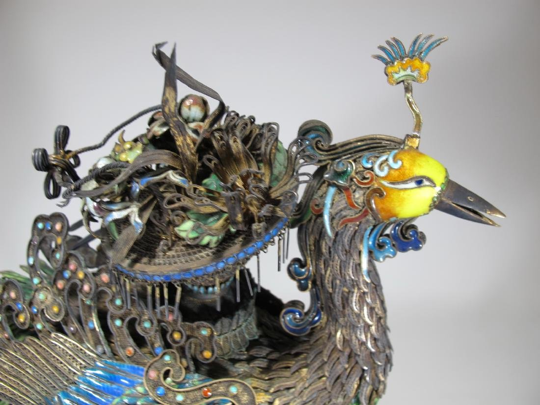 Chinese Export silver & enamel huge peacock - 9