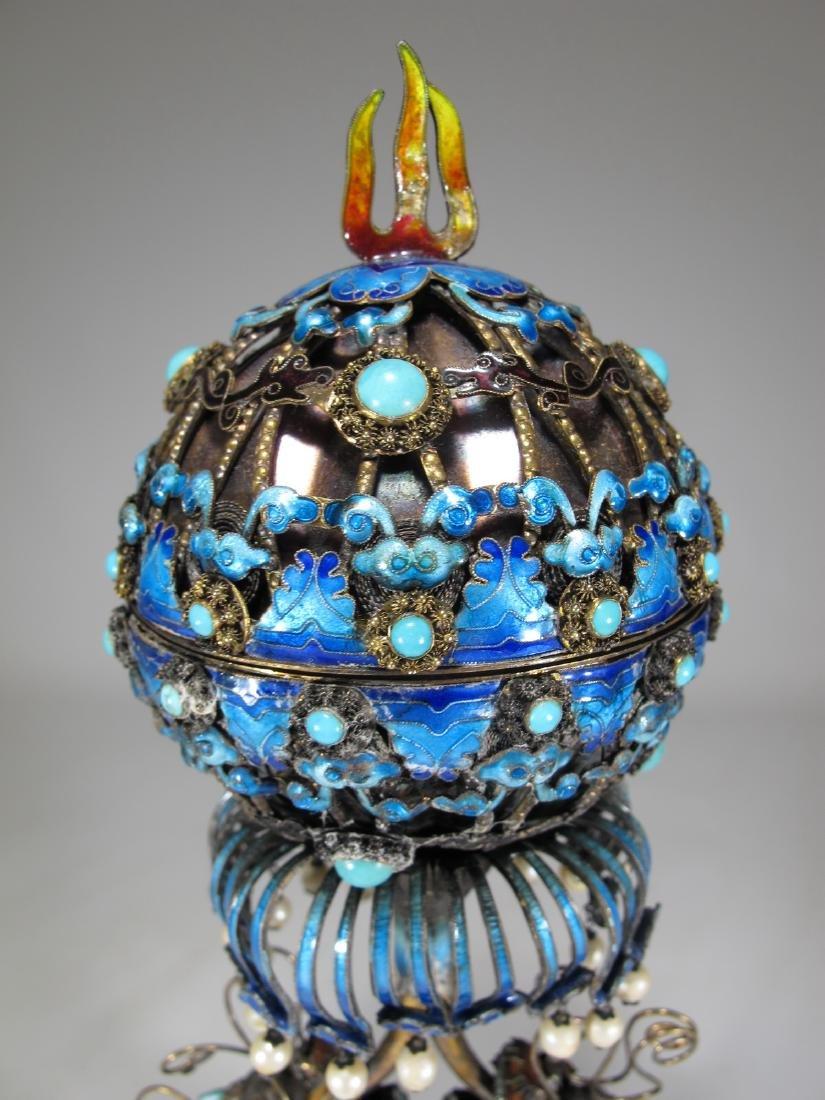 Chinese Export silver & enamel dragons box - 2