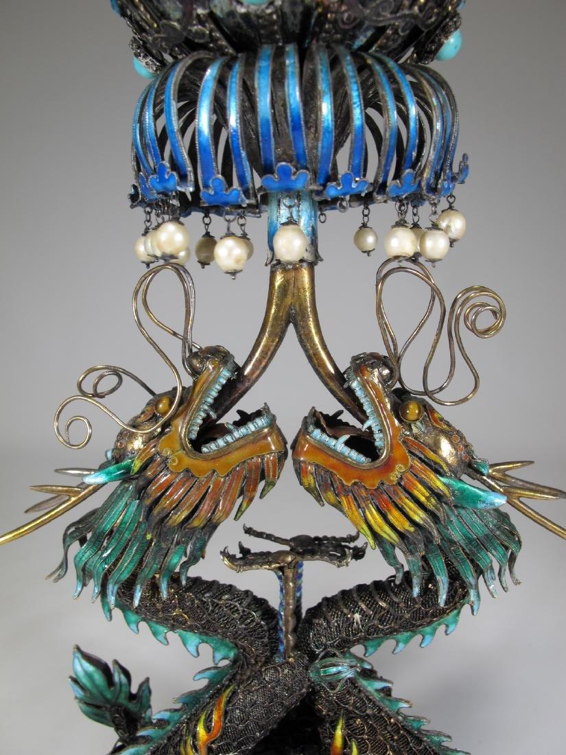 Chinese Export silver & enamel dragons box - 3