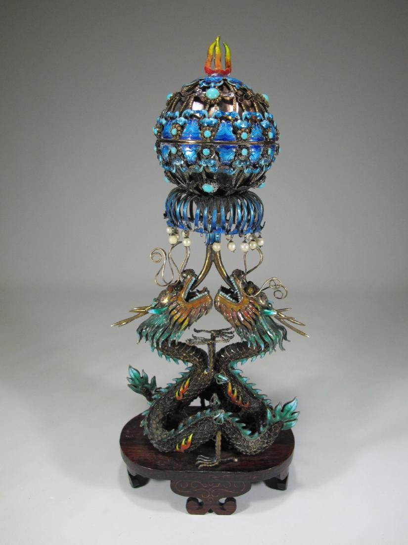 Chinese Export silver & enamel dragons box - 8