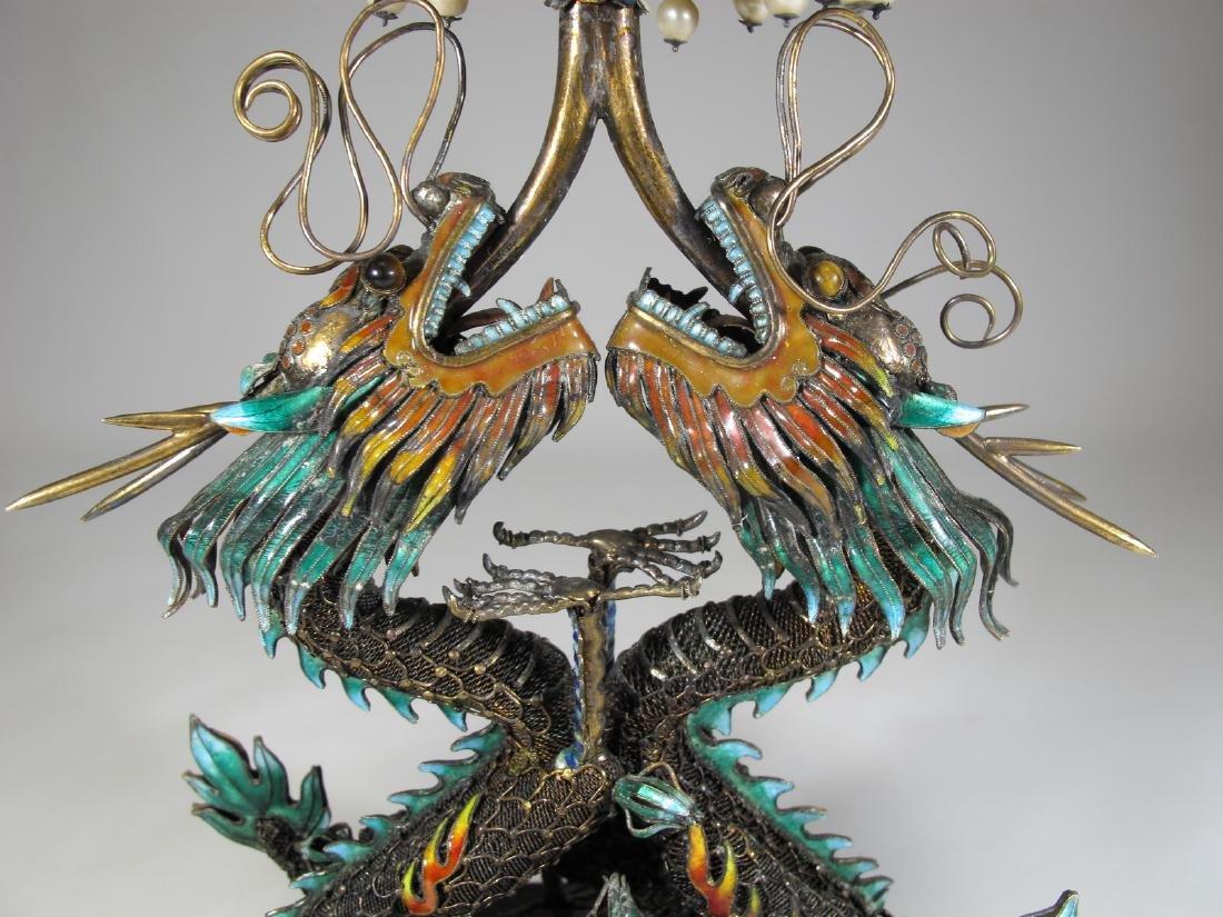 Chinese Export silver & enamel dragons box - 9