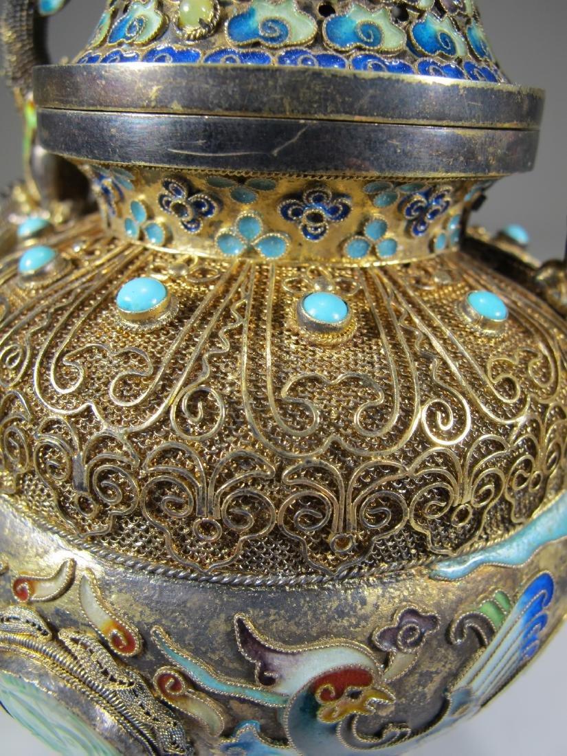 Chinese Export silver, jade & enamel urn - 10