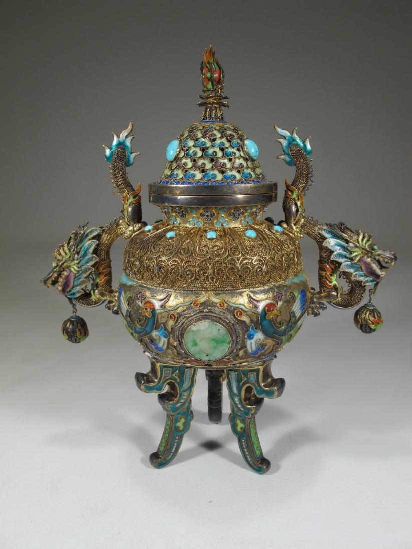 Chinese Export silver, jade & enamel urn