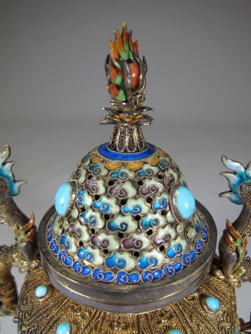 Chinese Export silver, jade & enamel urn - 2