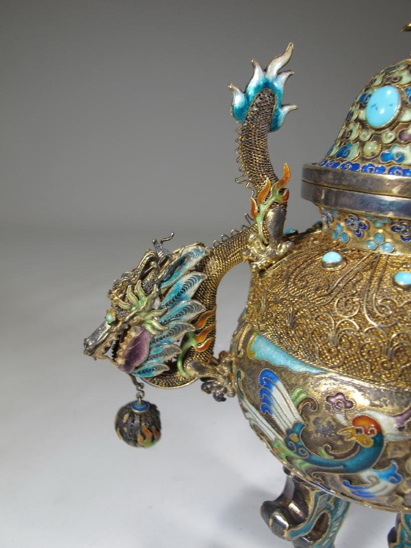 Chinese Export silver, jade & enamel urn - 3