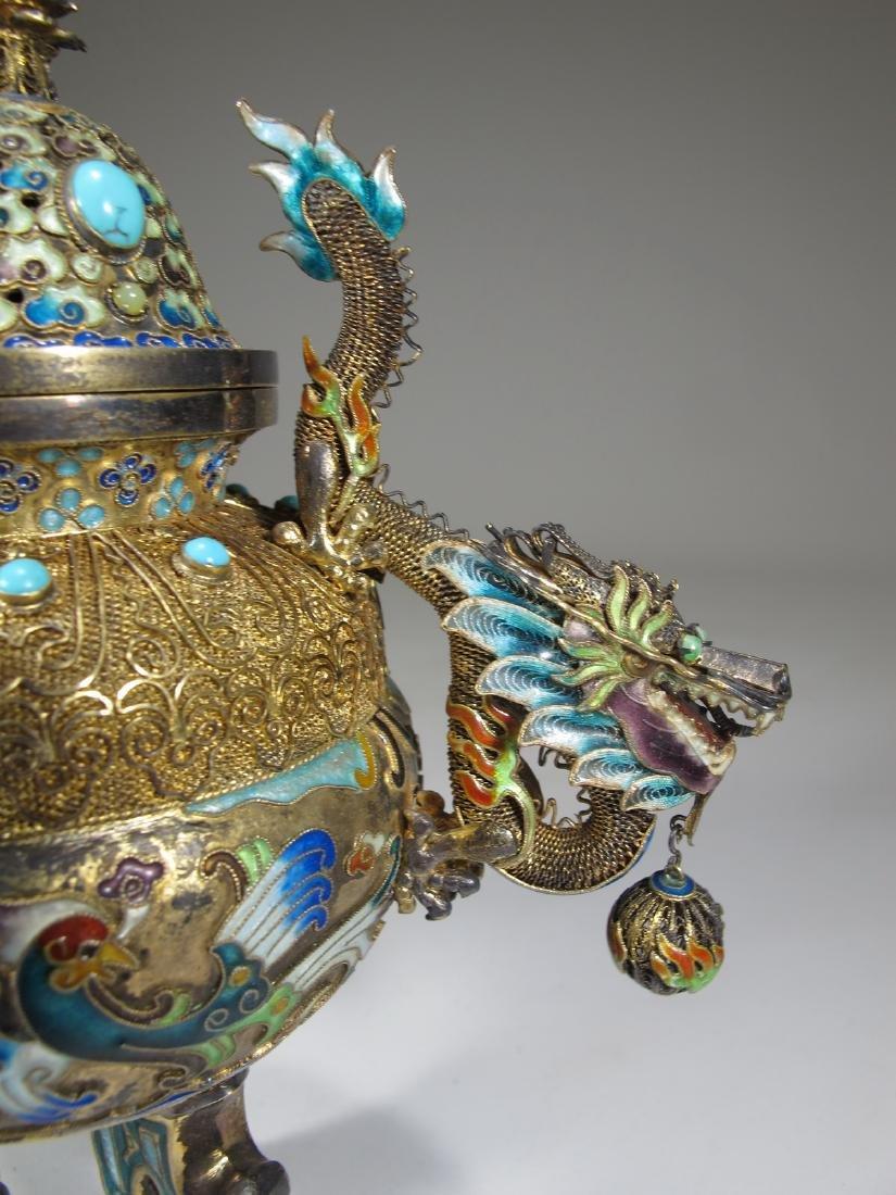 Chinese Export silver, jade & enamel urn - 4