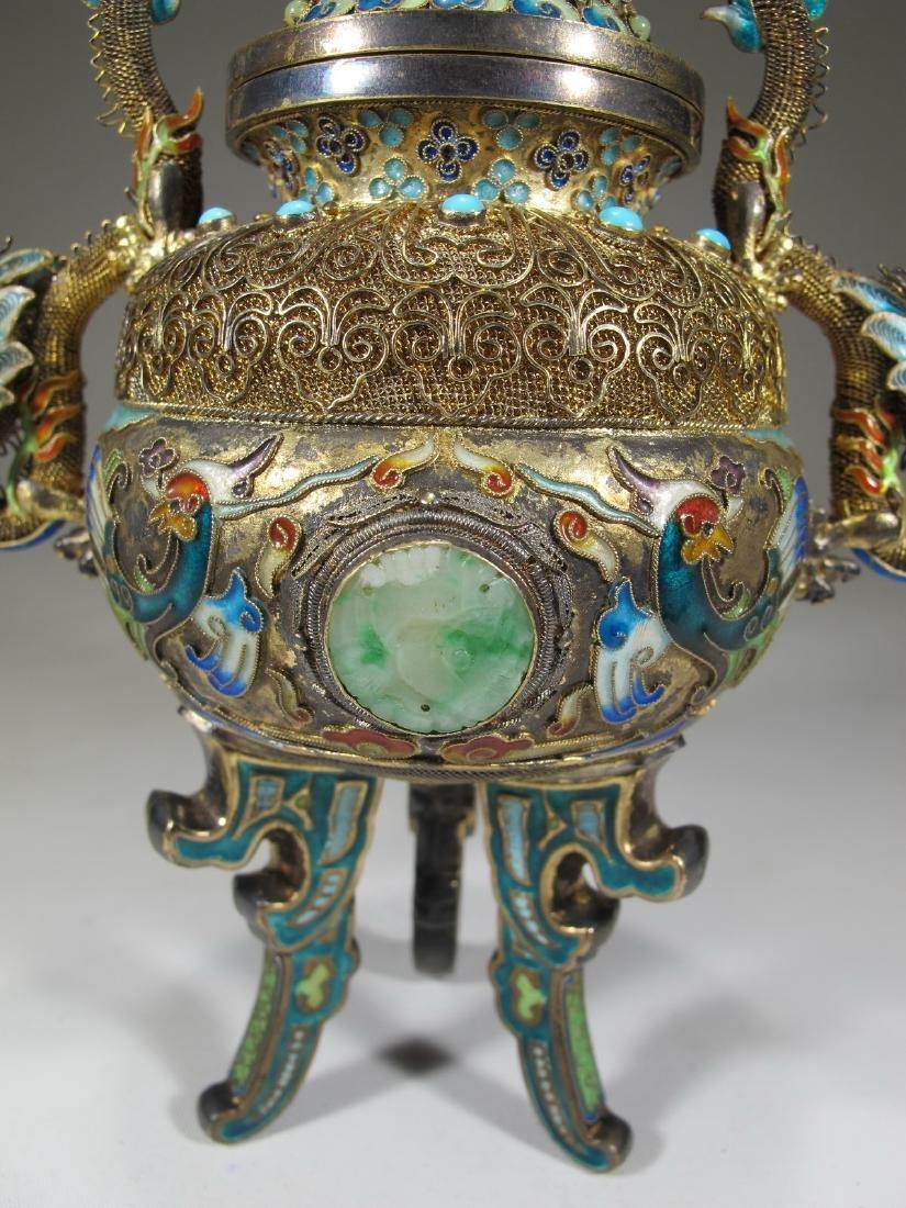 Chinese Export silver, jade & enamel urn - 5