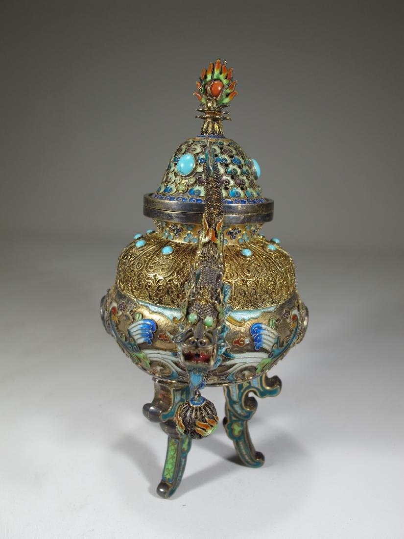 Chinese Export silver, jade & enamel urn - 6