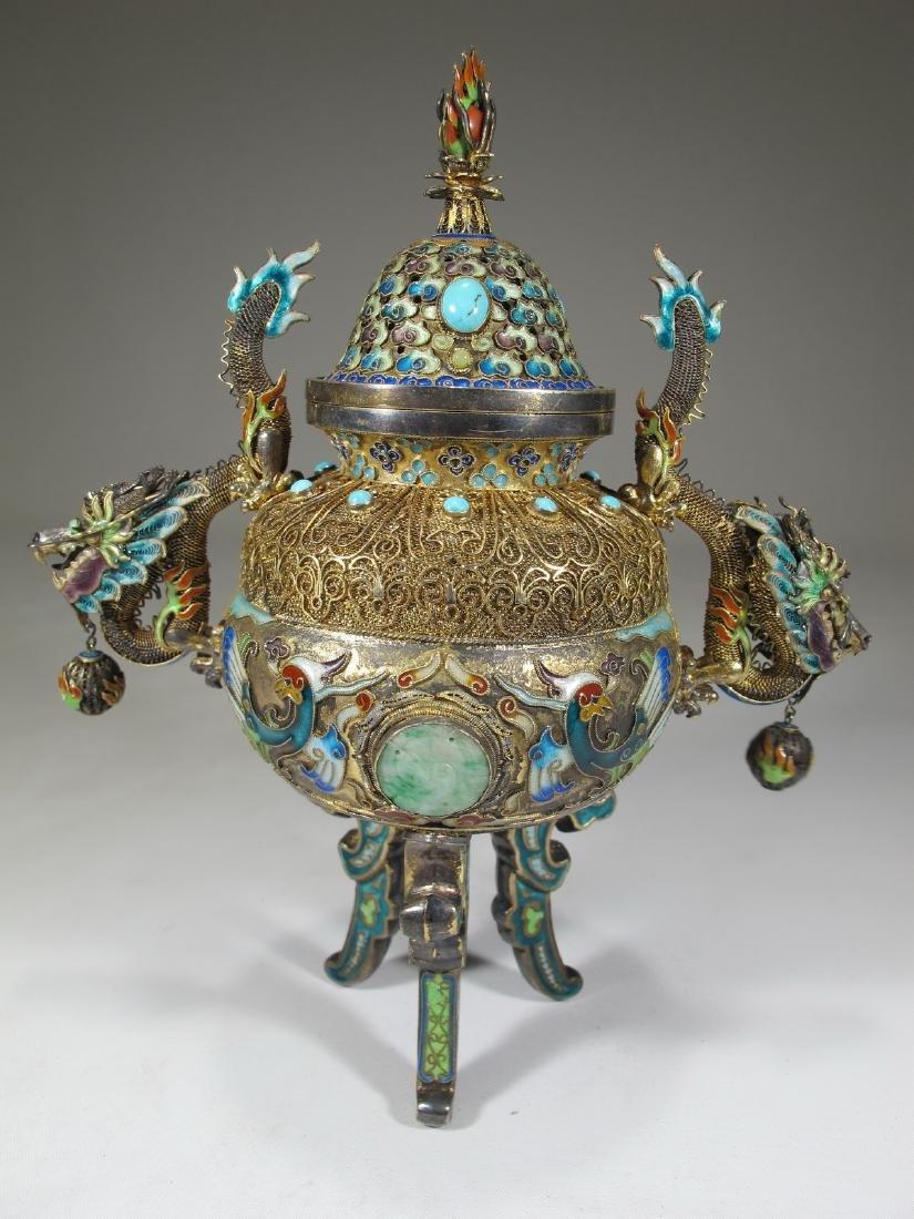Chinese Export silver, jade & enamel urn - 7