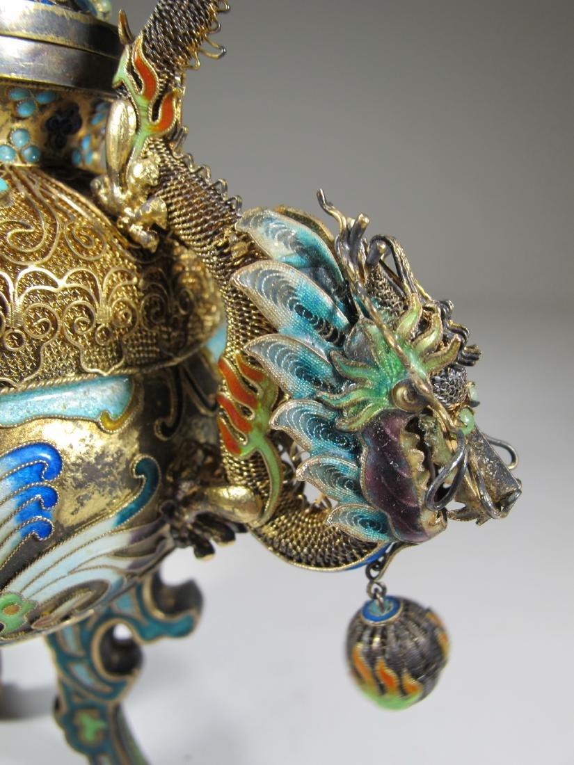 Chinese Export silver, jade & enamel urn - 9