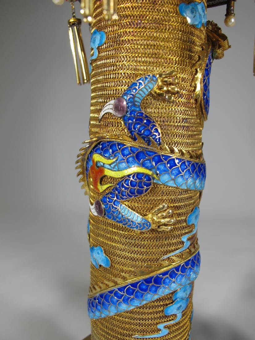 Chinese Export gilt silver & enamel towers - 10